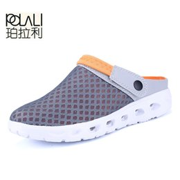 cheap slide sandals Australia - POLALI Men Summer Sandals Breathable Mesh Sandal Summer Beach mens Shoes Water man Slippers Fashion Slides Cheap Shoes
