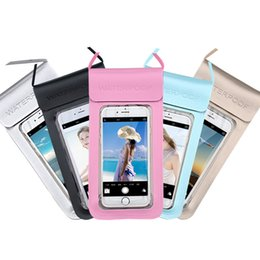 Mobile Pouches NZ - 5.5 & 6.4 Inch Universal Waterproof PU+PTU Swimming Diving Pouch Mobile Cell Phone Bag Case Holder Transparent TPU Touch Screen