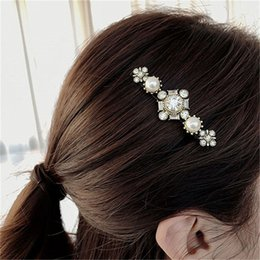 cross clip hair Australia - New Trendy Hair Accessories Vintage Crystal Flower Simulated Pearl Cross Barrettes Hair Clips Pins Korean Fashion Hairgrips Gift