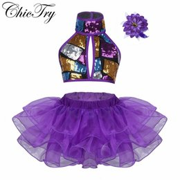 cc02da09f06d Sequins Kids Children Dance Costume Halter Crop Top with Tutu Dress Set for  Ballet Jazz Dance Stage Performance Ballroom