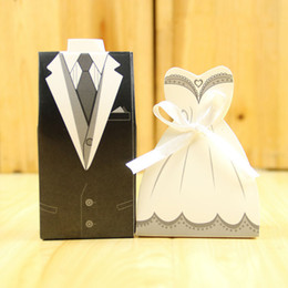 Shape Boxes Australia - 50 Pairs Candy Box for Wedding 100 PCS White Dress Black Tuxedos Shapes Wedding Favors and Holders Bridal Supplies With White Silk Ribbon
