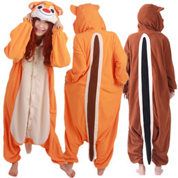 Pajama Party Costumes UK - Adult s Cartoon Cosplay Animal Onesie Chipmunk Pajama  Women s and Men s Halloween f7cfbf654