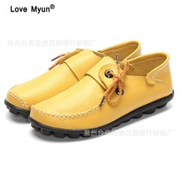 Autumn New Style Cow Leather Women s Casual Shoes Moccasins Female Flats  Shoe Lace-Up Woman Loafers Driving Shoe Size 35-43 4a5dc2d21e49