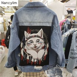 Wholesale Cowboy Jacket Women s European Autumn Loose Cat Bead Sequins Embroidered Heavy duty Short Jacket Coat Female Lady Basic Coats