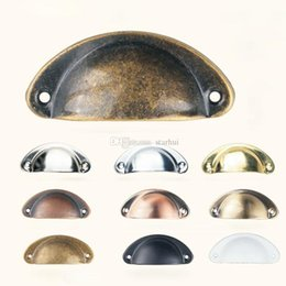 Shell Pull Handles Australia - Vintage Cabinet Knobs and Handles Cupboard Door Cabinet Drawer Furniture Antique Shell Home Handles Pulls WX9-1276