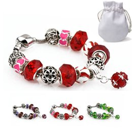$enCountryForm.capitalKeyWord NZ - Top Quality Charm Bracelets Girl Silver Plated Fit Pandora Bangles Diamond Beads Green Red Crystal Stone Pendant Alloy Jewelry With Logo P29