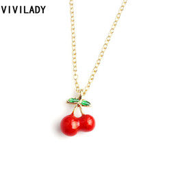 strawberry coin UK - Vivilady Fashion Tiny Apple Strawberry Cherry Pineapple Pendant Necklaces Women Girl Kids Long Chain Fruit Jewelry Ol Party Gift T190626