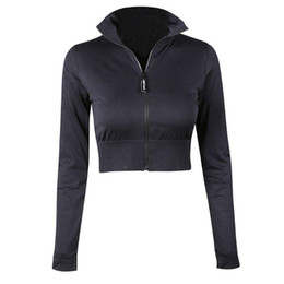Yoga Pants Jacket UK - Womens Exposed Zipper Black Sports Yoga Shirt Coat With Long Sleeve Running Fitness Clothing Quick Dry Jacket Sweatshirt FM-013