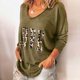$enCountryForm.capitalKeyWord Australia - Women Leopard Letter Tops tee Love Print T shirts Girls LOVE V Neck Tshirts Casual Loose Long Sleeve Pullover Shirts Sweatshirts 2019 sale