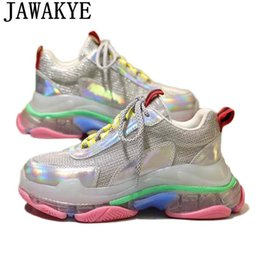 Metal Sneakers Australia - Clear Transparent flat heel casual shoes women genuine leather lace up platform sneakers colorful metal air mesh daddy shoes