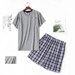 $enCountryForm.capitalKeyWord Australia - Male Summer pyjamas Sets men 100% cotton short sleeveShirt+Pants V-collar Korea style pajamas mujer homewear man sleepwear