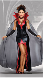 woman vampire halloween costumes Australia - Sexy Dress Without Sleeve Evil Castle Queen Uniform Halloween Party Vampire Cosplay Costumes For Women