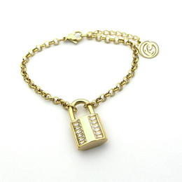 Simple Gold Designs 18k Australia - Fashion Brand Lock Charm Bracelets Luxury Design 316L Titanium Steel Simple Lock Bracelet Rose Gold Chains Bracelet Lover Gift