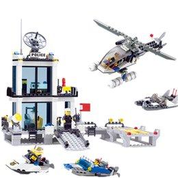 $enCountryForm.capitalKeyWord NZ - 536pcs Police Station Building Blocks Helicopter Boat Model Bricks Education Toys Compatible All Brand Brinquedos Kids Gifts J190719