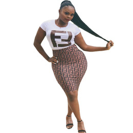 $enCountryForm.capitalKeyWord Australia - 2019 Summer Women Bodycon Dresses Double F Letter Printed Short Sleeve Dress Panelled White Tops Knee Length Skirts Night Club Clothes 510