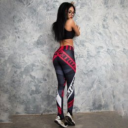 ece702bb48 2019 Women Breathable Leggins Fitness Leggings Elastic Female Workout Slim  Letter Printed Leggings Running Gym pants