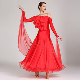 Silk Red Dress For Women Australia - women ballroom dance dresses for sale smooth ballroom dress ballroom dance competition costumes waltz dress red flamenco dance dress
