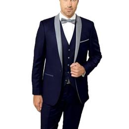 $enCountryForm.capitalKeyWord Australia - Navy Blue Slim Fit Formal Business Suit Shawl Lapel Groom Suits Mens Suits 3 Pieces Wedding Suits Tuxedos for Man Jacket+Pants+Vest