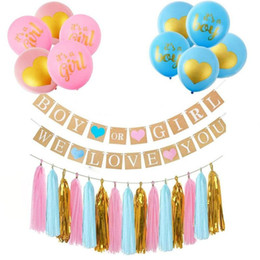 Party Banners Decorations Australia - Gender Reveal Party Decoration Boy Or Girl We Love You Banner Three Colors Tassels 12 Inch Latex Balloons