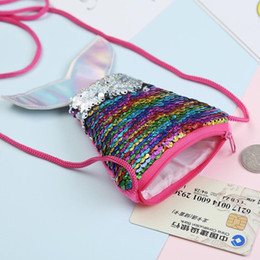 girls beautiful wallet NZ - New Arrival Girls Love Mermaid Sequins Coin Purse With Lanyard Beautiful Fish Shape Tail Coin Pouch Bag Small Portable Glittler Wallet
