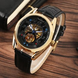analog gear Australia - Men Women's Waterproof Stainless Steel Skeleton Mechanical Watch with Automatic-self-winding Movement,Luxury Golden Gear,Fluorescent Pointer
