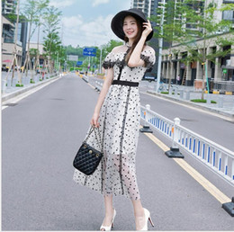 $enCountryForm.capitalKeyWord Australia - Happy Independence Day Holiday gift Hign-End Occident style runway Lace collar Button Print Polka dot sexy dress