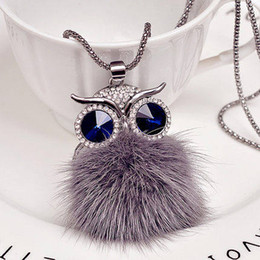 matching necklaces 2019 - Kakaboom Owl Wool ball crystal Long Chain Necklaces pendants Sweater chain for women girls all-match fashion jewelry Nec