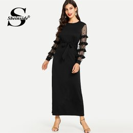 China Sheinside Contrast Dot Ruffle Mesh Sleeve Dress Ladies 2019 Spring Casual Straight Belted Maxi Dresses Elegant Solid Party Dress supplier lady spring dress belt suppliers