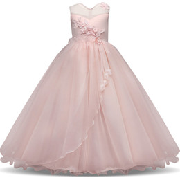 Color wedding dress designers online shopping - 1pcs Girls Pretty Lace Applique Tulle Wedding Princess Dress baby girl designer clothes Kids boutique Strapless Formal Gowns Party Dresses