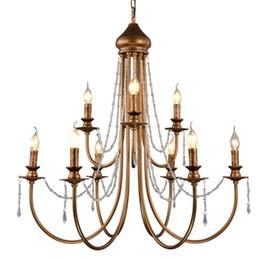 $enCountryForm.capitalKeyWord Australia - Modern Vintage Design Crystal E14 Ancient Gold Led Chandelier Lighting Fixtures for Home Loft Staircase Living Room Bedroom Lamp LLFA