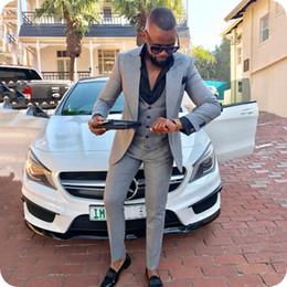 Grey Check Piece Suit Australia - New Grey Wedding Suits For Men Peak lapel 3 Pieces (Jacket+Vest+Pants) Slim Fit Wedding Groom Prom Tuxedos Party Suits YM