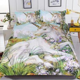 Discount girls twin bedding sets - 3d Unicorn Bedding Set Queen Size Watercolor Print Bed Set Kids Girl Flower Duvet Cover Colored Dreamlike Bedlinen