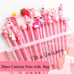 $enCountryForm.capitalKeyWord Australia - 20Pcs lot with Gift Bag Creative 20 Different Cartoon Gel Pens Demon Chick Bunny Flamingo Office School Stationery Gift Writting Pen 0.5mm