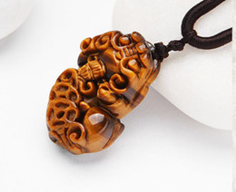 Jade Carved Flower Pendant Australia - Natural Tiger Eye Stone Agate Hand-carved Pixiu Pendant Necklace Sweater Chain Jewelry Gift Wholesale Is A Symbol Of Wealth