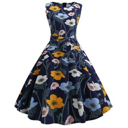 Wholesale Polyester Dress NZ - Women's Dress Polyester O-Neck Vintage Sleeveless Print Casual Evening Party Prom Swing Dress Elbse@30