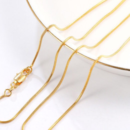 Buy Necklaces Australia - (264N) 16 18 20 22 24 26 28 30 inches Tiny Snake Chains Necklaces (1mm) Fro MEN WOMEN 18k Yellow Gold Plated Hot Buy Lead and Nickel Free