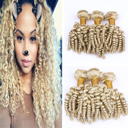 26 platinum blonde human hair extensions Australia - 613 Blonde Aunty Funmi Curly Human Hair Weave 3 Bundles Platinum Blonde Bouncy Curly Hair Wefts Romance Spiral Curls Virgin Hair Extensions