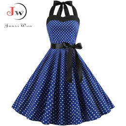 EmpirE pin online shopping - Sexy Halter Party Dress Retro Polka Dot Hepburn Vintage s s Pin Up Rockabilly Dresses Robe Plus Size Elegant Midi Dress Y190117