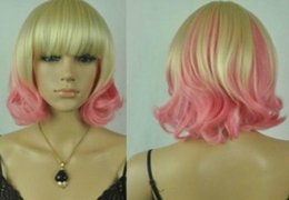 hot pink curly wig NZ - WIG LL Hot heat resistant Party hair>>>A5 Cos Harajuku light blonde  pink mix short curly cosplay full wig