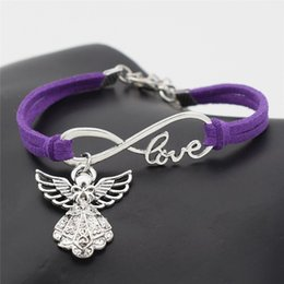 $enCountryForm.capitalKeyWord NZ - New 2019 Handmade Braided Charm Purple Leather Suede Bracelet Infinity Love Guardian Angel Bangles for Men and Women Jewelry Adjustable Gift