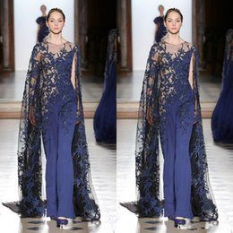 Long sLeeve bead gown online shopping - Tony Ward Jumpsuits Prom Dresses With Cap Royal Blue Lace Appliqued Beads Long Sleeve Formal Evening Gowns Elegant Pantsuit Party Dress