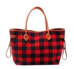 Faux Leather Handles Wholesale Australia - Women Tote Bag Black Red Plaid handbags Flannel Christmas Fashion Handbag With Faux Leather Handle Bottom Shoulder Bags GGA1488