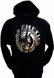 HeavyweigHt Hoodies online shopping - Mexico Mens Gold Foil Heavyweight Pullover Hoodie Aztlan Hip hop