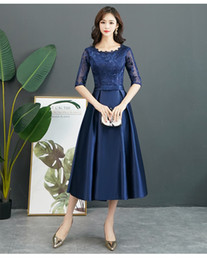 Modest Coral Party Dress Australia - Vintage Tea Length Navy Blue Short Modest Bridesmaid Dresses With Half Sleeves A-line Lace Satin Bridesmaid Informal Wedding Party Dress