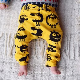 yellow leggings Canada - Newborn Baby Boy Girl Kids Monster Bottom Harem Pants Leggings Trousers Cotton Infant Novelty Children Loose Pants