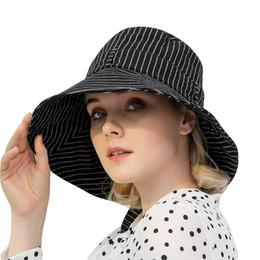 b8abce4509b111 Hot Sale Fashion Black White Striped Foldable Dome Bucket Hat Hip Hop Cap  2018 New Men Women Outdoors Sun Protective Beach Hat