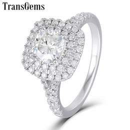 cushion f NZ - Transgems 14k White Gold Double Halo Ring Center 1ct 6mm Square Cushion Cut F Color Moissanite Engagement Ring For Women Wedding Y190726