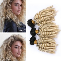 $enCountryForm.capitalKeyWord Australia - Two Tone 1B 613 Blonde Ombre Aunty Funmi Human Hair Bundles Black and Blonde Ombre Bouncy Spiral Curly Virgin Hair Weave Wefts 300g