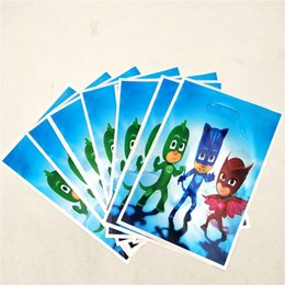 $enCountryForm.capitalKeyWord Australia - New 30pcs Cartoon PJmasks pajamas Gift Bags Kids Birthday Party Wedding Decoration Candy Dessert Chocolate Plastic Loot Gift Bag