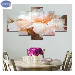pictures peonies UK - Multi-pictures 3d round square diamonds peony flower 5 Pieces 5D DIY Diamond painting floral mosaic patterns,Diamant embroidery